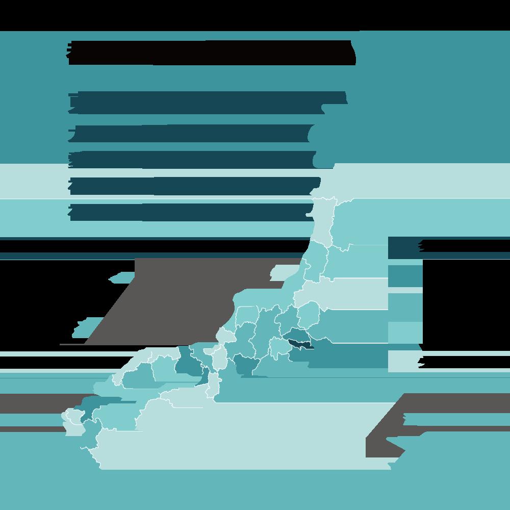 都道府県別の導入数の図